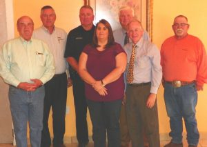 Pictured from left to right: Tom Mendenhall, City of Yale; David Osburn, OMPA; Phillip Kelly, City of Yale; Deanna Couch, City of Yale; Randy Elliott, OMPA; Senator elect Tom Dugger, District 21; Tom Hurst, City of Yale.